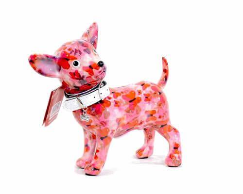 chien chihuahua verte - jaune pomme pidou avec des motifs de fleurs